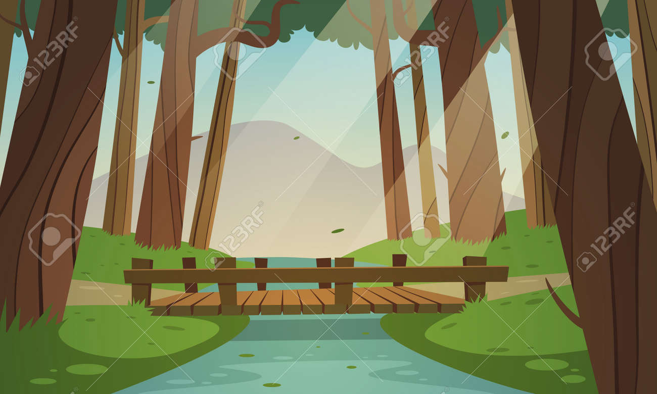 Cartoon Illustration Of The Small Wooden Bridge In Woods Diagram Related Keywords Suggestions Beam Summer Landscape Stock Vector