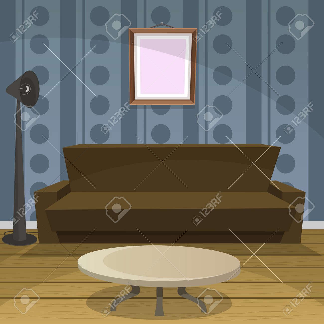 Habitacion Retro Azul Ilustraciones Vectoriales Clip Art - Habitacion-retro
