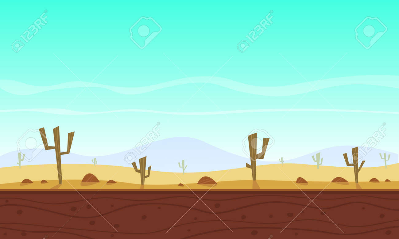 Desert Cartoon Game Background Royalty Free Cliparts Vectors And