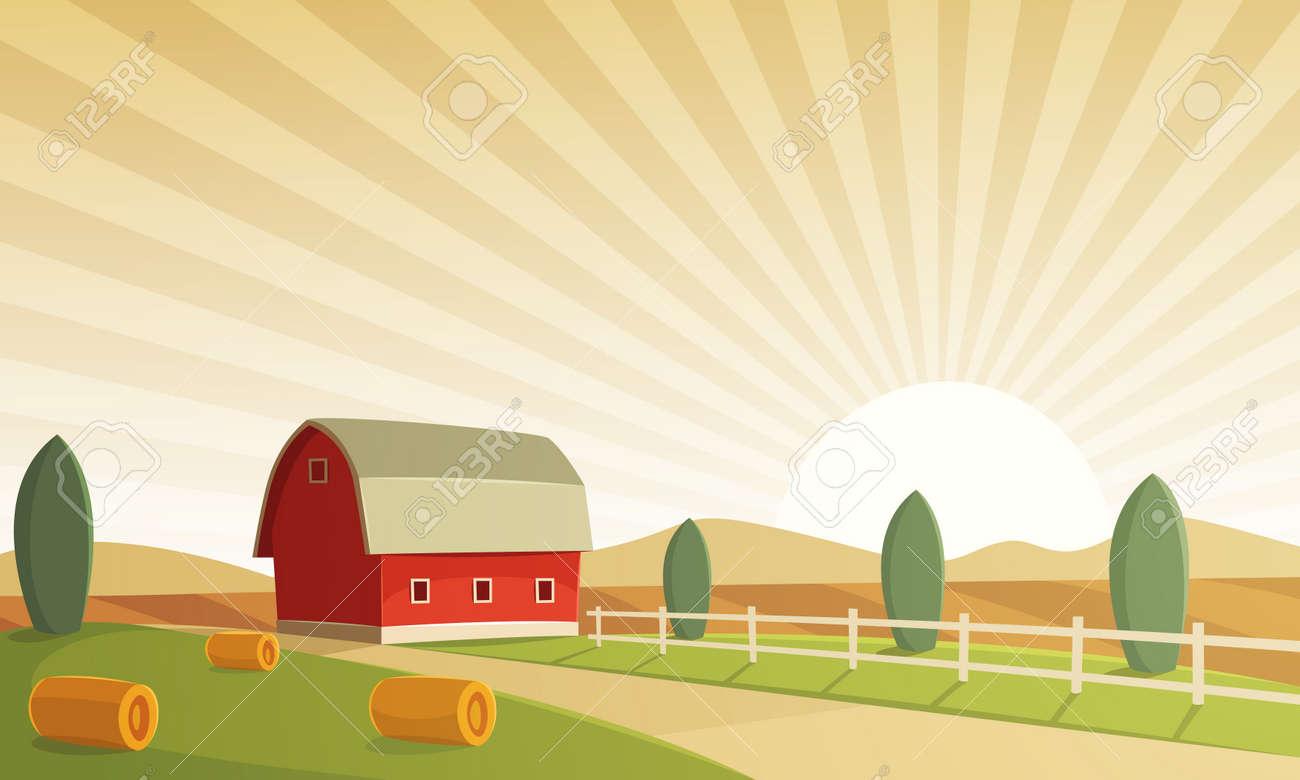 Red farm barn at sunset, countryside landscape, cartoon illustration. - 57934631