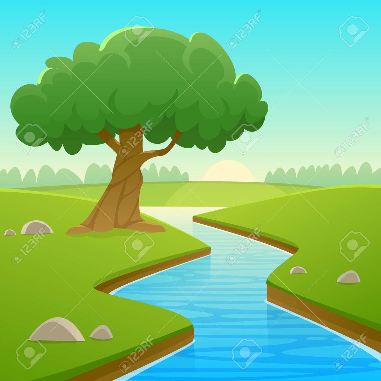 Cool Landscape Summer - 60638246-cartoon-illustration-of-summer-rural-landscape-with-river-over-land-and-tree-  Pictures_95238.jpg