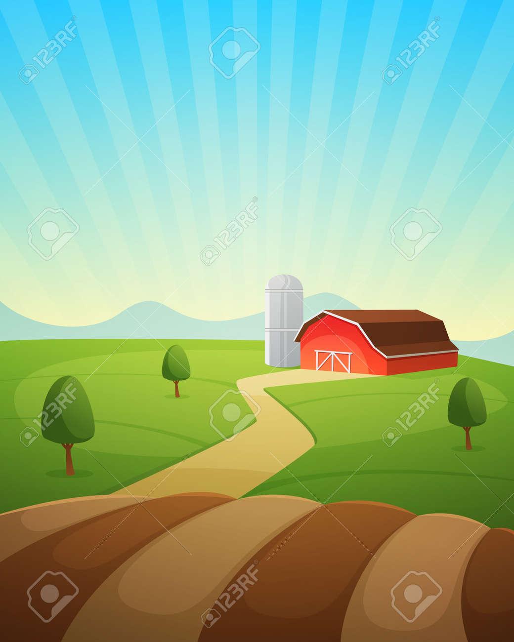 red farm barn countryside landscape cartoon vector illustration