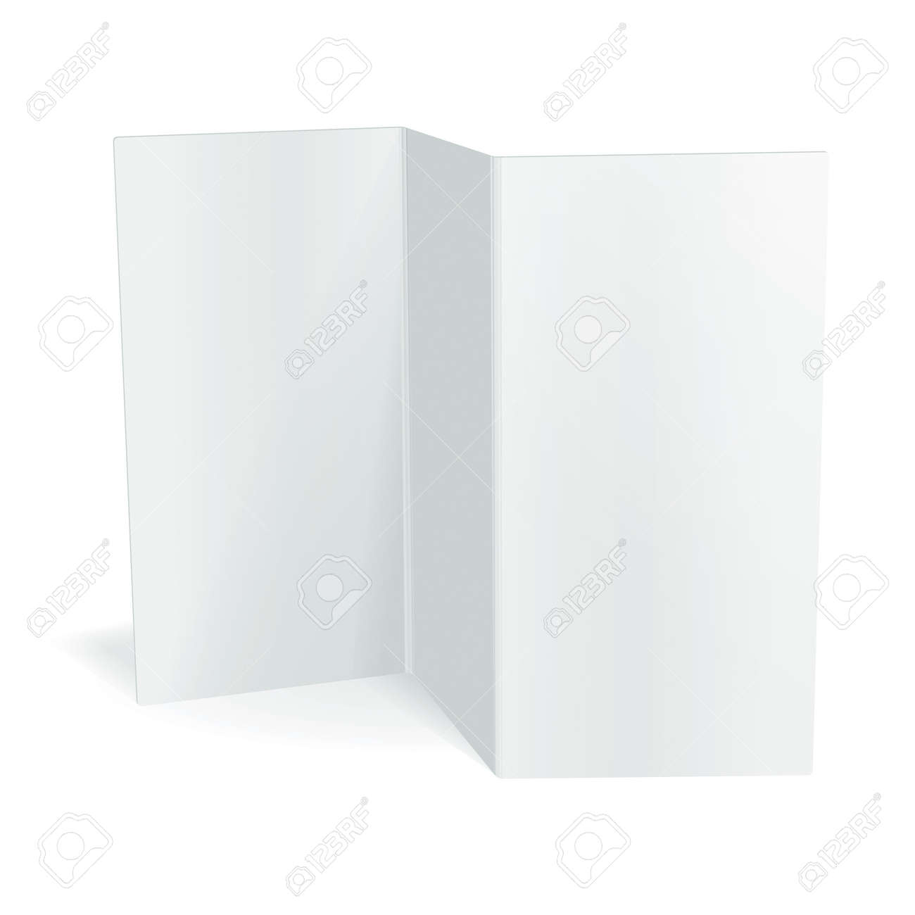 Blank White Vector Tri Fold Brochure Template Royalty Free – Blank Tri Fold Brochure Template