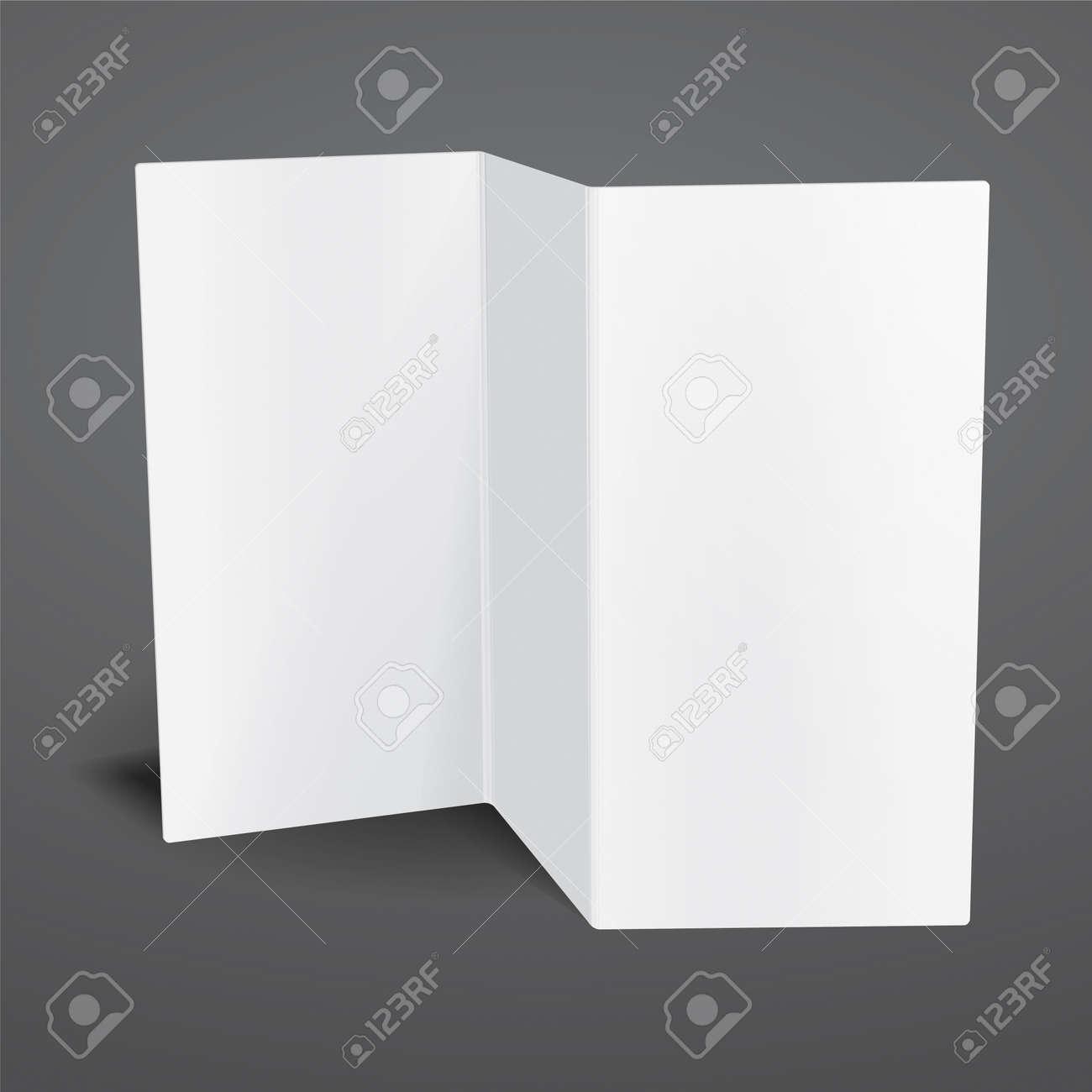 Blank White Vector Tri Fold Brochure Template Royalty Free – Blank Tri Fold Brochure Template