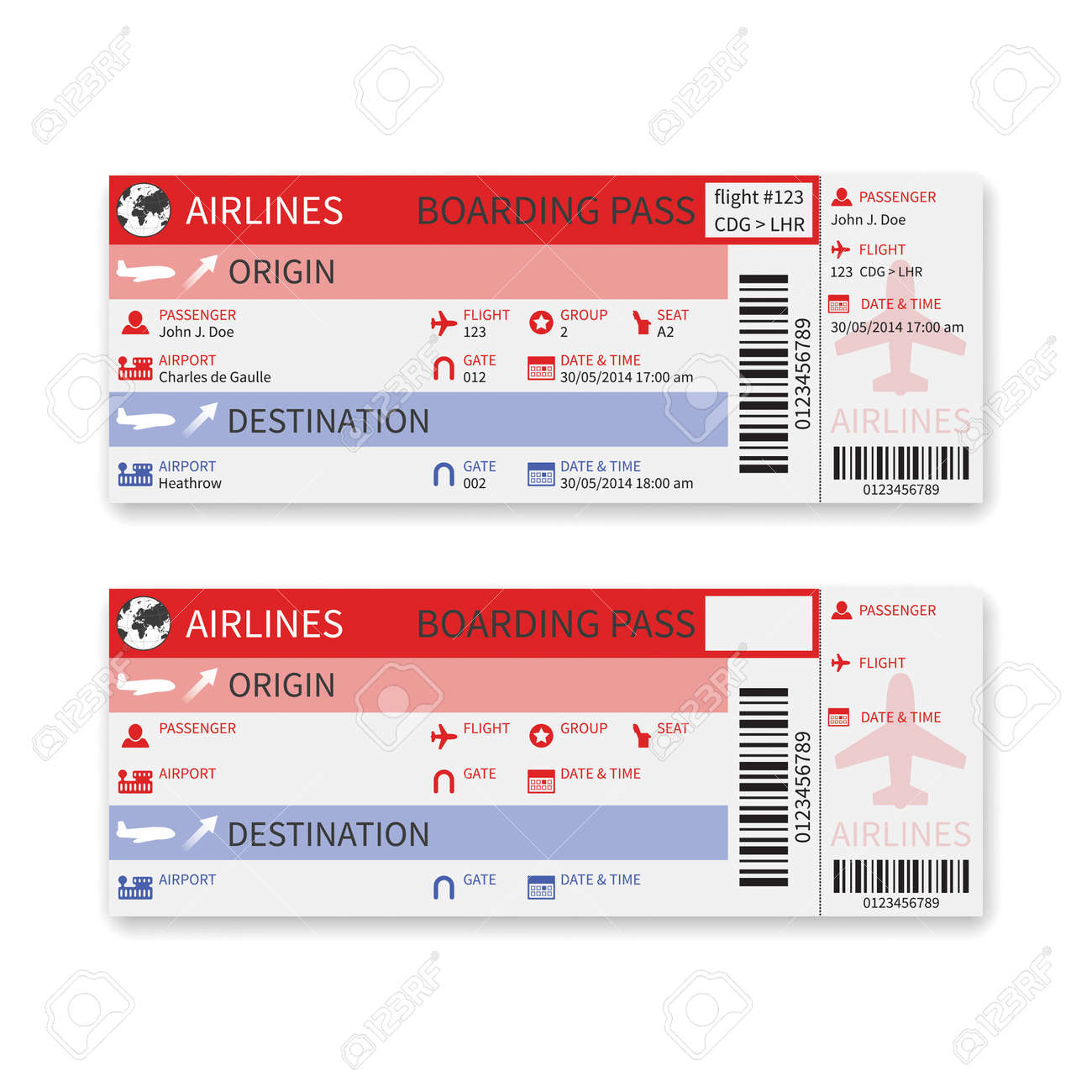 airline boarding pass ticket isolated on white background - 30006697
