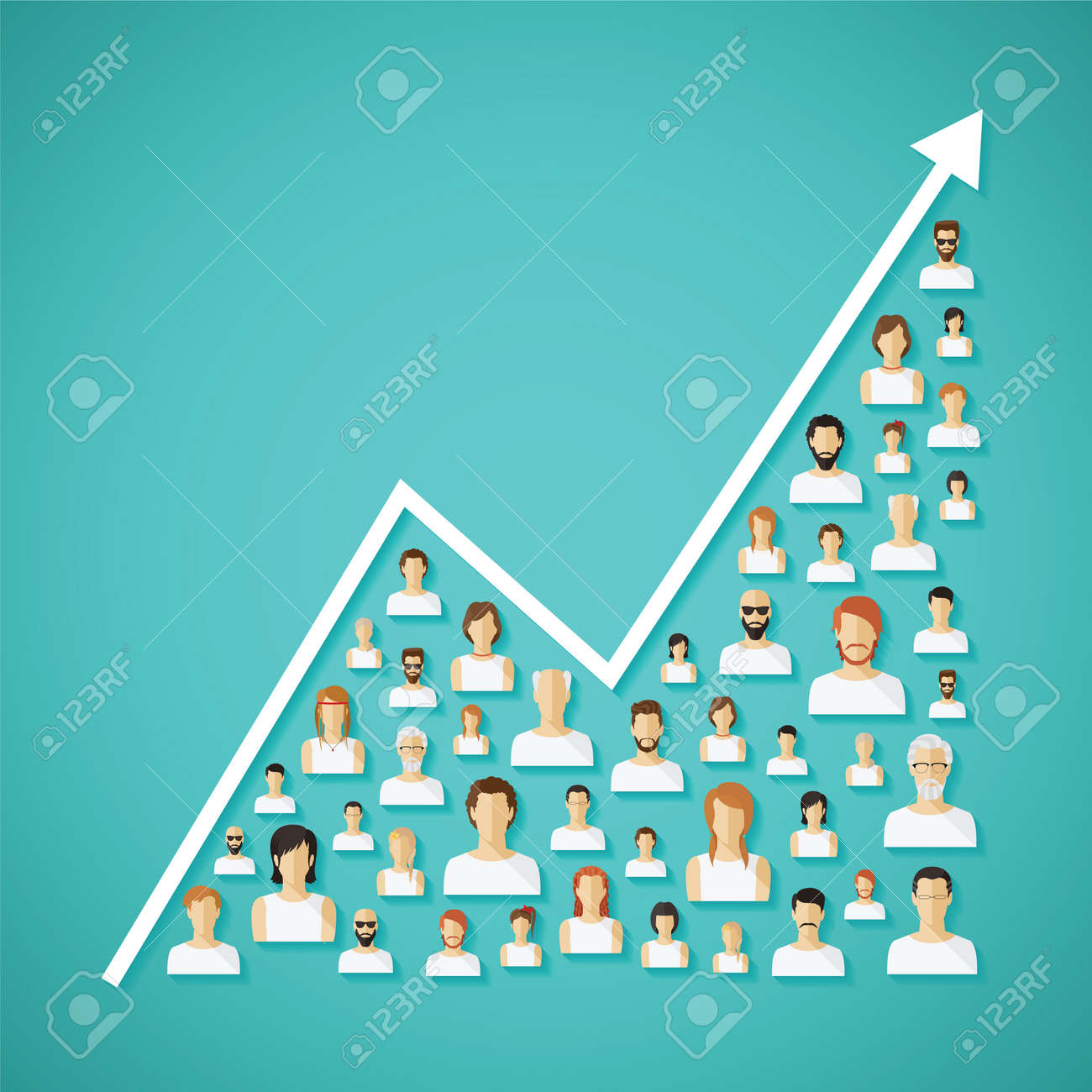 Vector social network population and demography growh concept with flat human icons. - 30139299