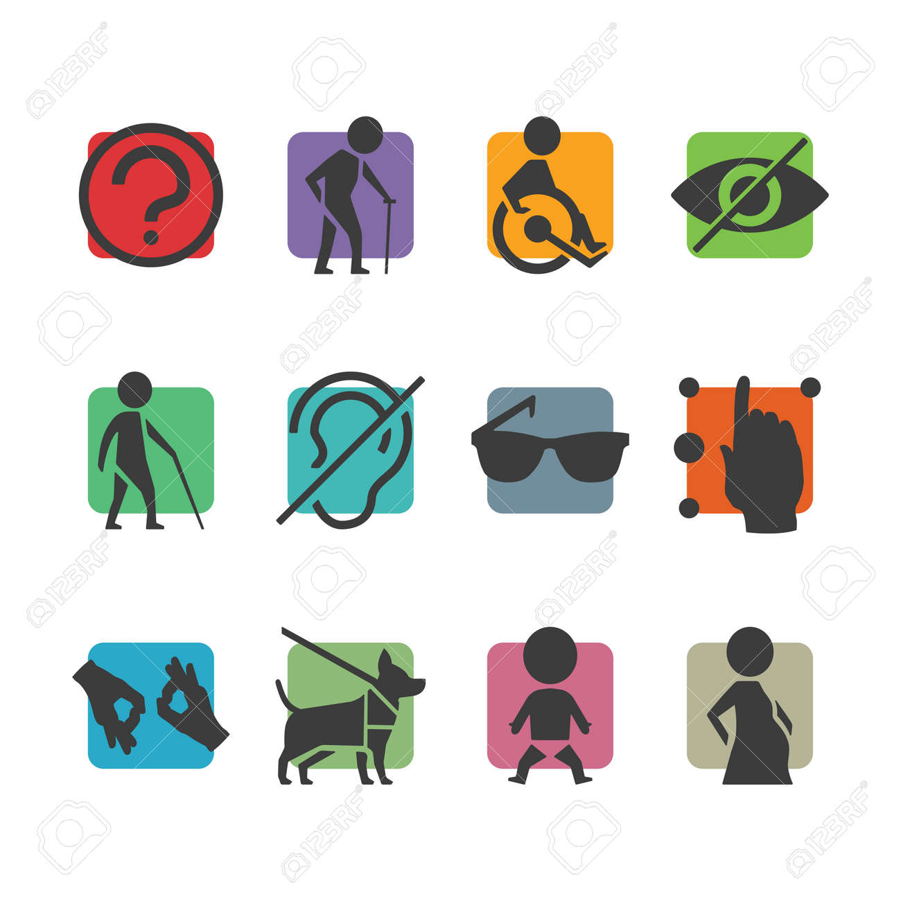 19737 disability stock illustrations cliparts and royalty free vector colorful icon set of access signs for physically disabled people like blind deaf mute and biocorpaavc