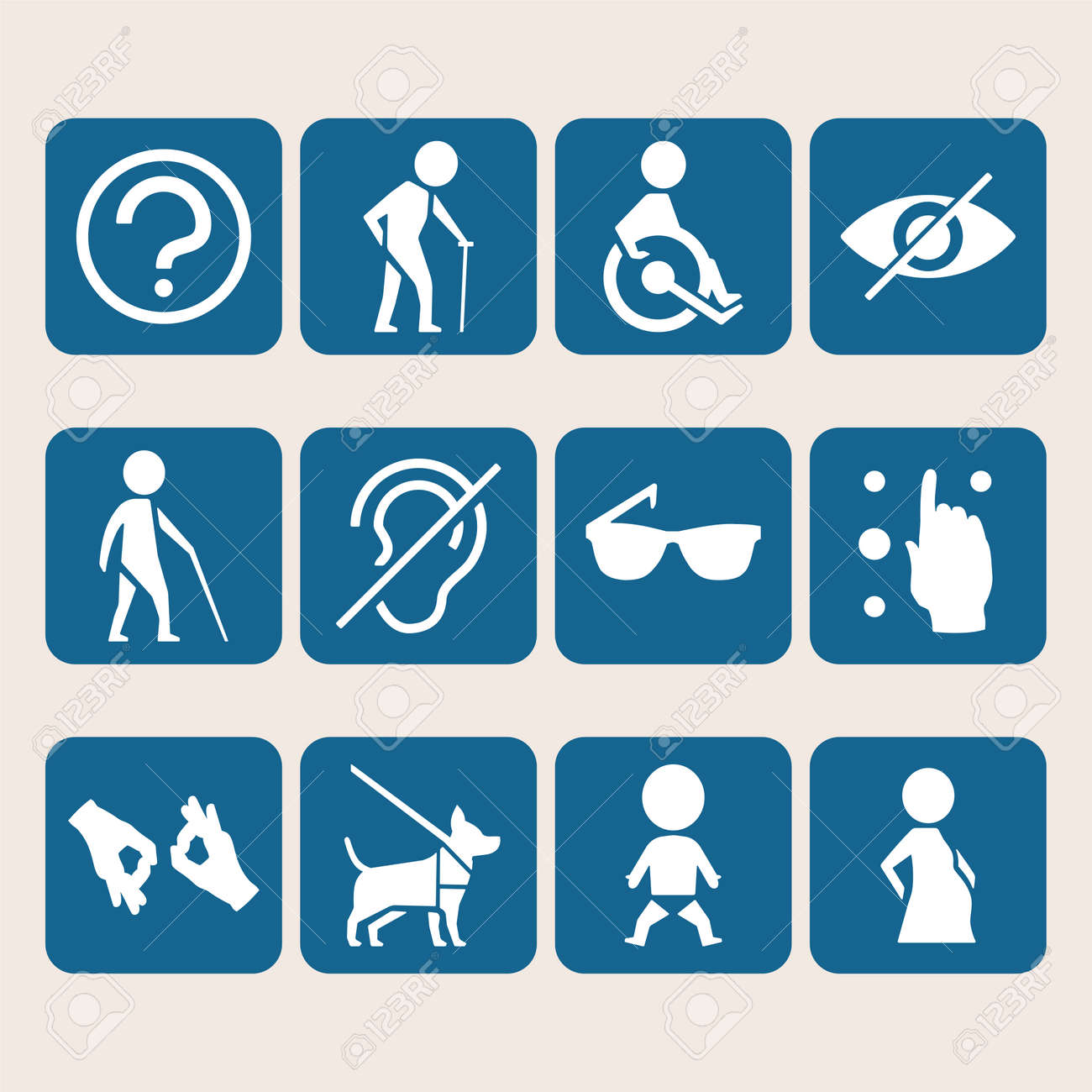 Vector colorful icon set of access signs for physically disabled vector colorful icon set of access signs for physically disabled people like blind deaf mute and biocorpaavc