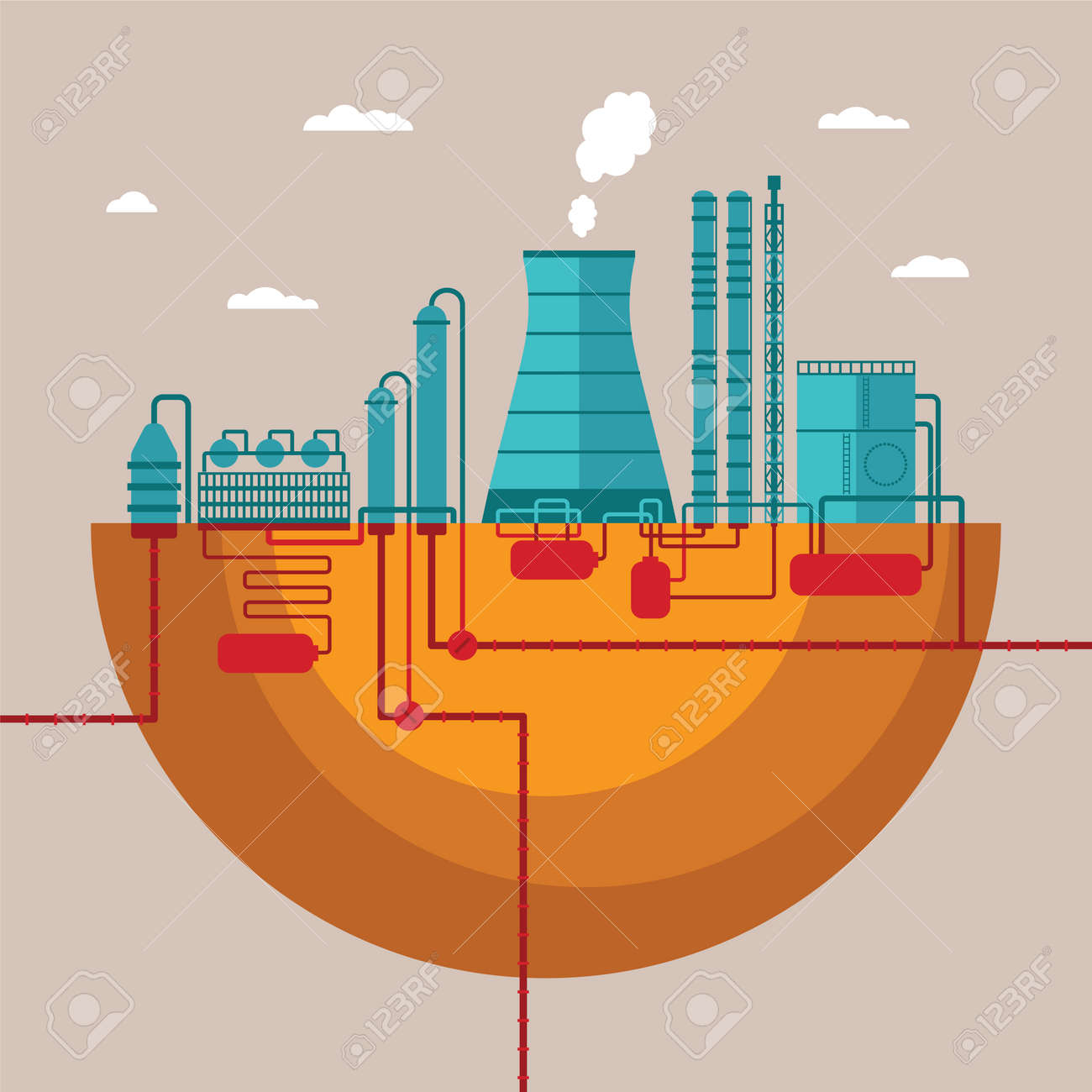 concept of refinery plant for processing natural resources or