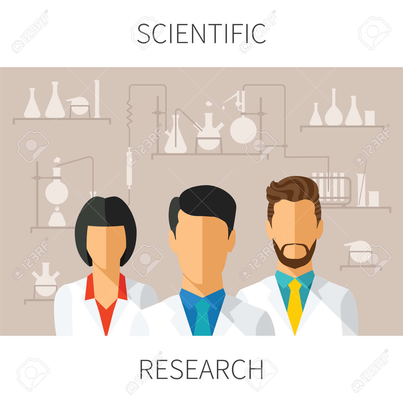 concept illustration of scientific research with scientists in chemical laboratory - 31673803