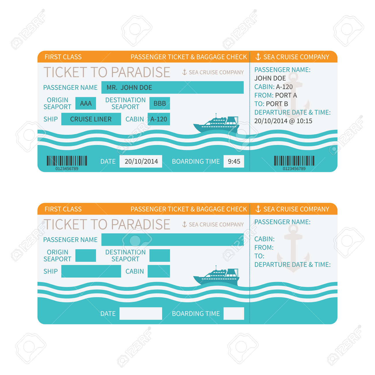 Sea Cruise Ship Boarding Pass Or Ticket Template Royalty Free ...