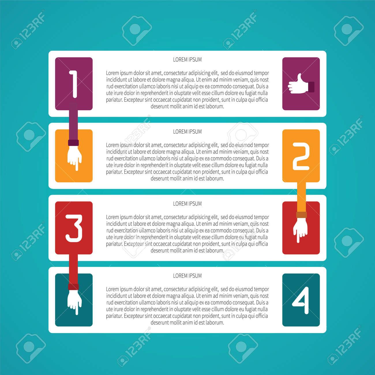 Resumen De Vectores De 4 Pasos Plantilla Infografía En Estilo Plano ...