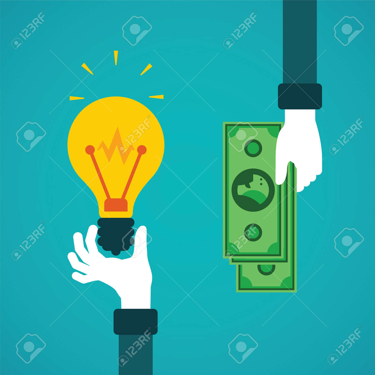 Crowdfunding or idea for money vector concept in flat style - 40403445