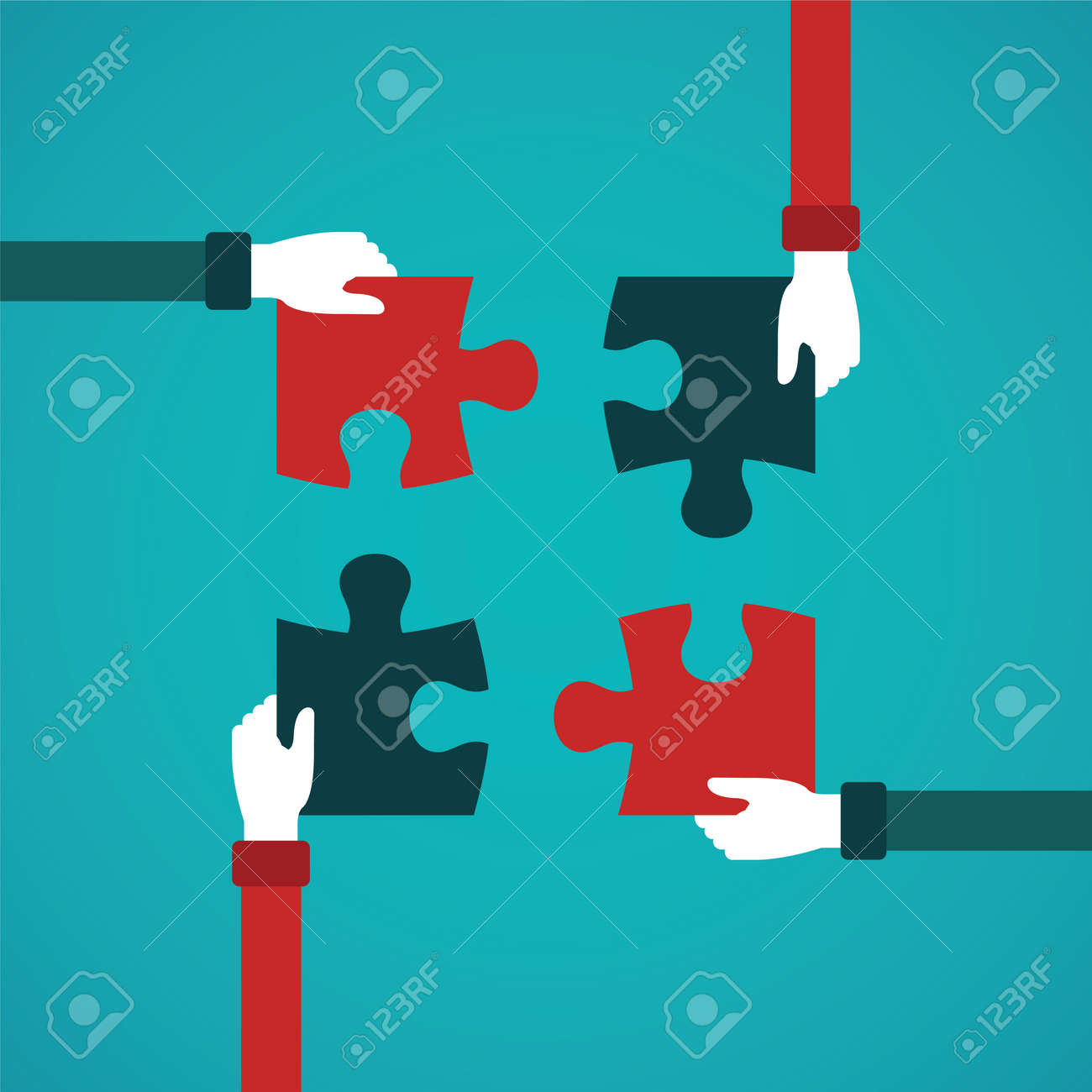 Teamwork abstract vector concept with jigsaw puzzle in flat style Stock Vector - 48348001