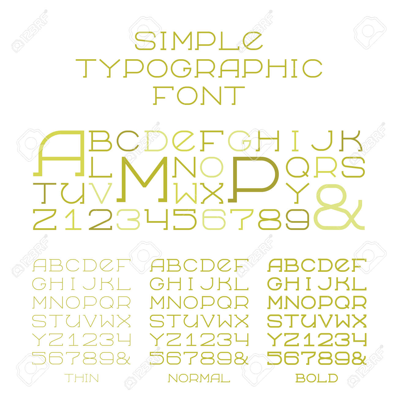 Simple Serif Alphabet Three Types Of Capital Letters In Flat Style Stock Vector