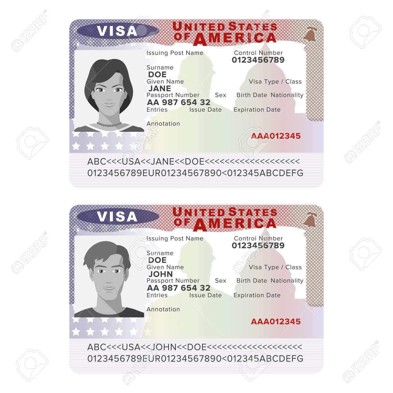 vector vector usa passport visa sticker template in flat style