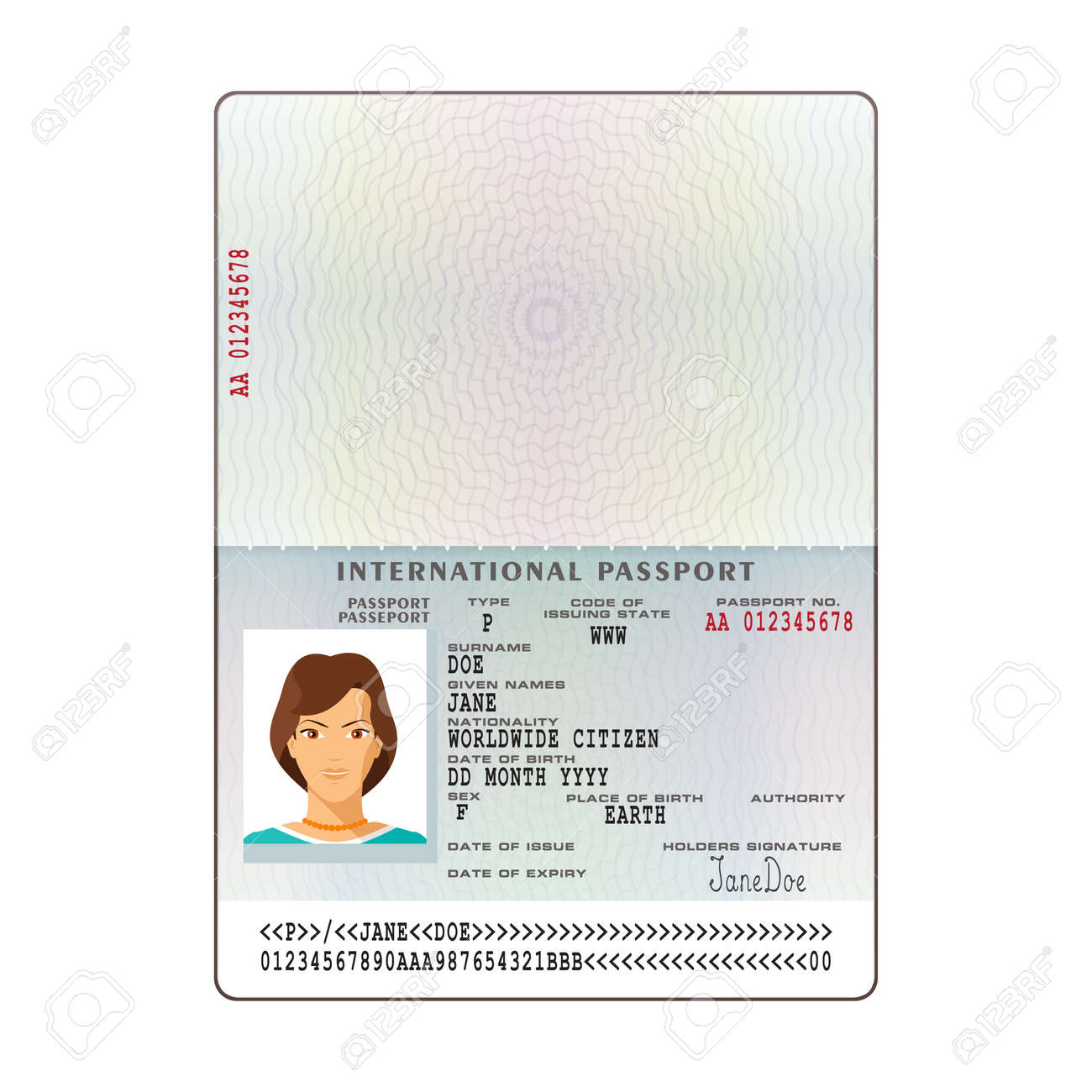Vector international passport template with sample personal data