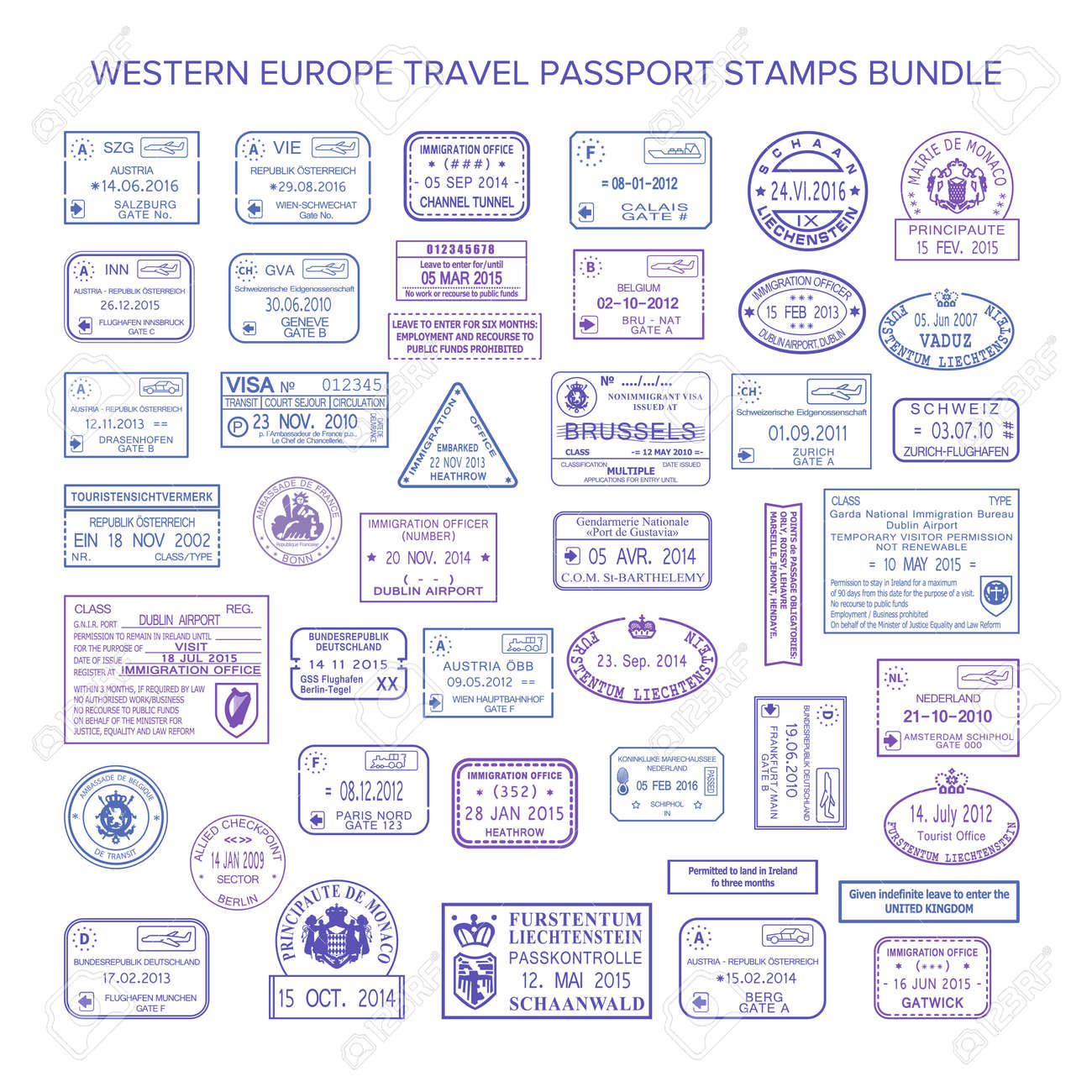 vector western europe common travel visa stamps set royalty free