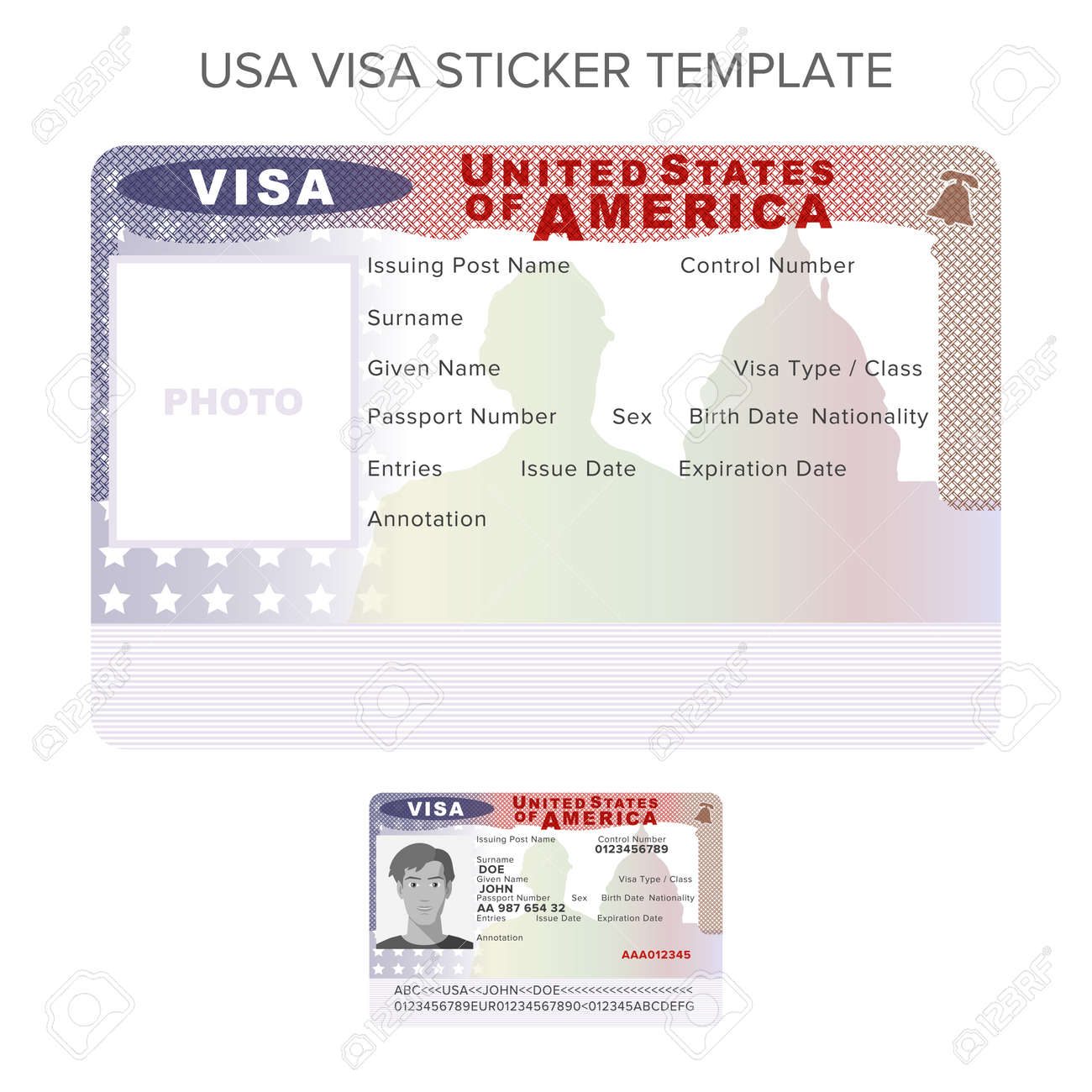 Vector USA Passport Visa Sticker Template In Flat Style Royalty Free ...