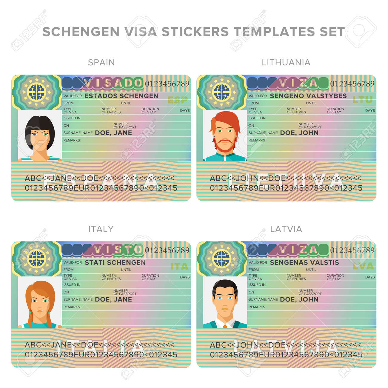Passport Schengen Vectors Templates Image Stock Illustration And Cliparts Royalty Lithuania Sticker For Visa Free 75200257 Spain