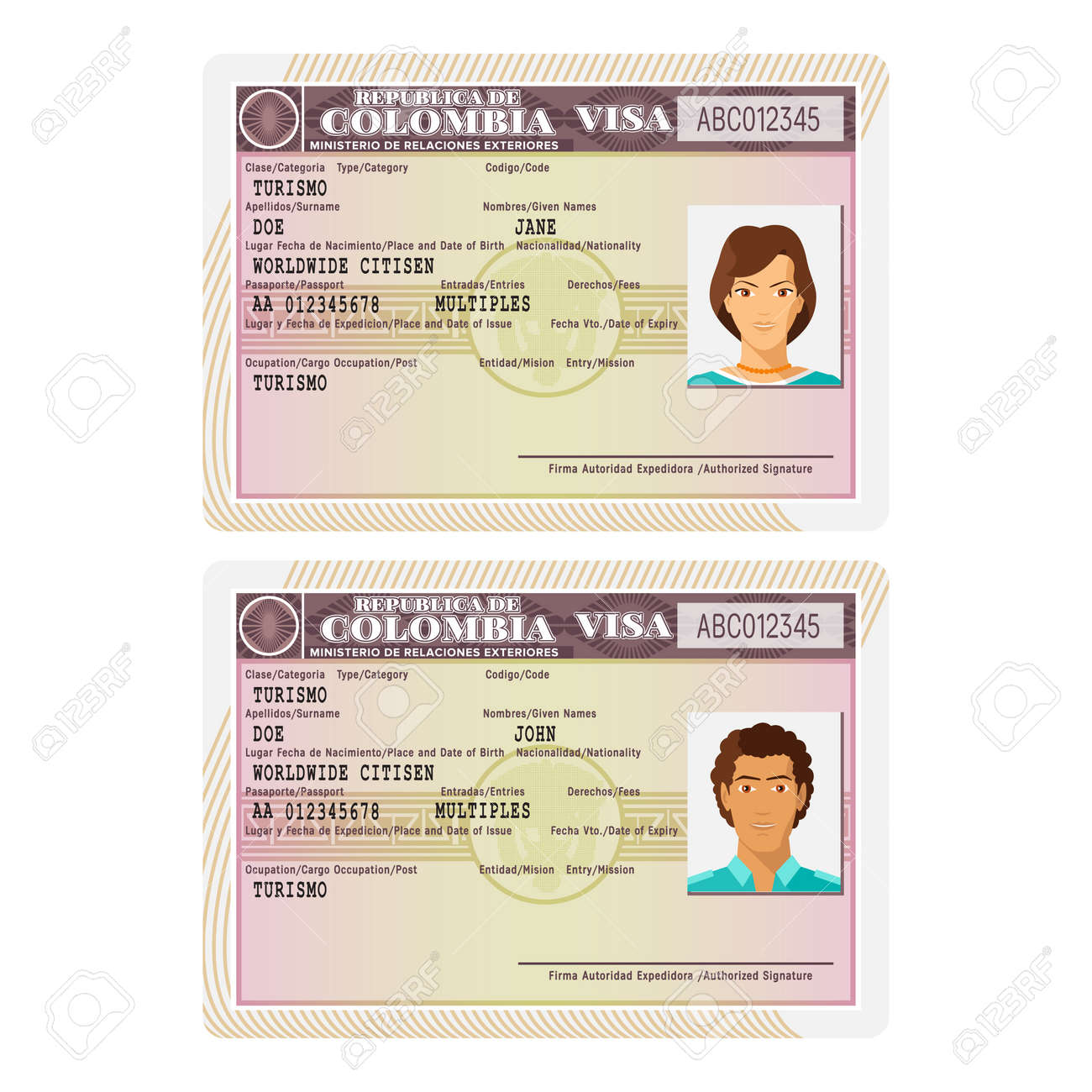 A Vector Colombia Passport Visa Sticker Template In Flat Style ...