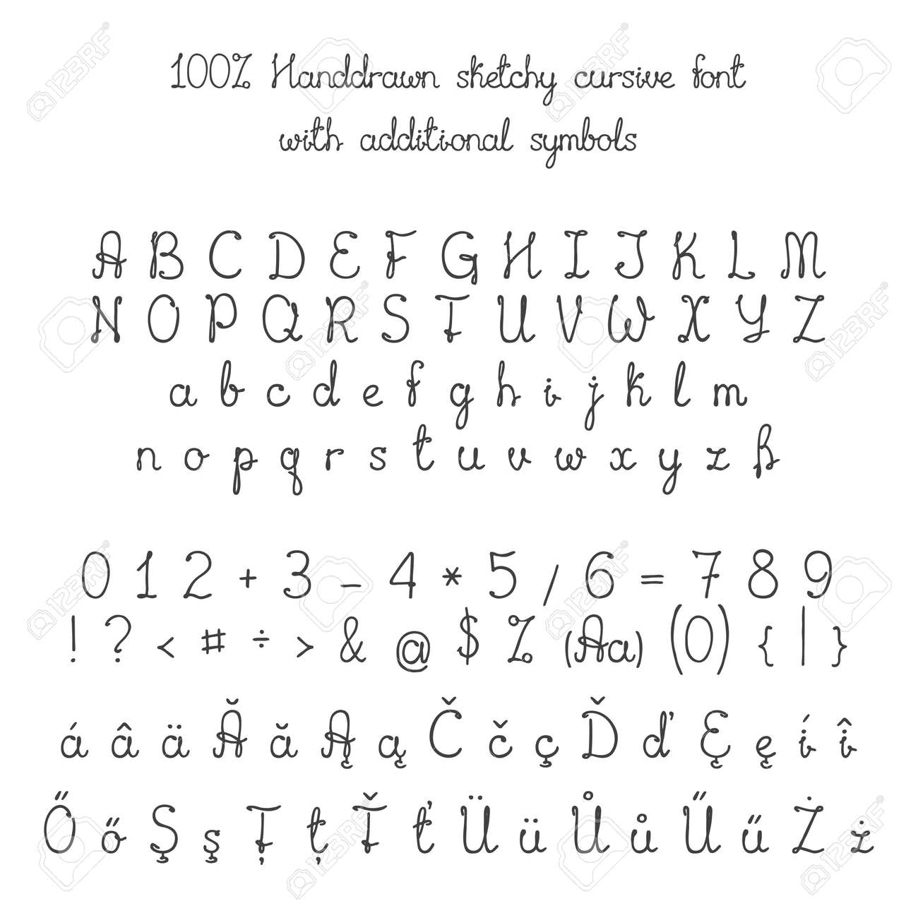 Vector Sketchy Handdrawn Italic Cursive Font With Additional