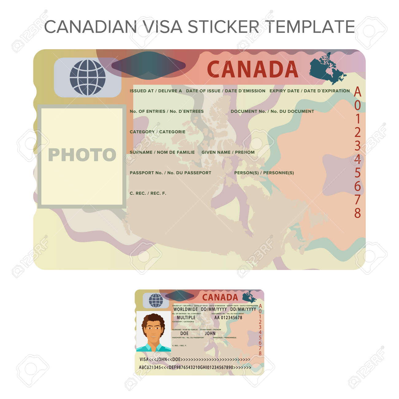 Vector Canada International Passport Visa Sticker Template In ...