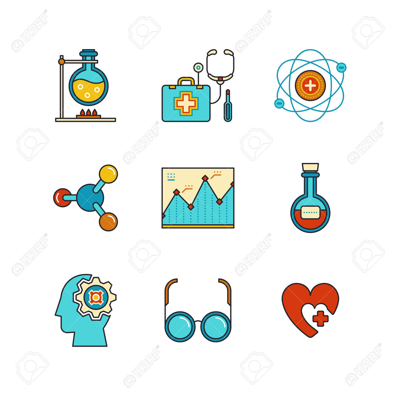 Vector minimal lineart flat medical iconset chemical flask doctors imagens vector minimal lineart flat medical iconset chemical flask doctors support first aid kit eye glasses chemistry atom heart shape diagram ccuart Gallery
