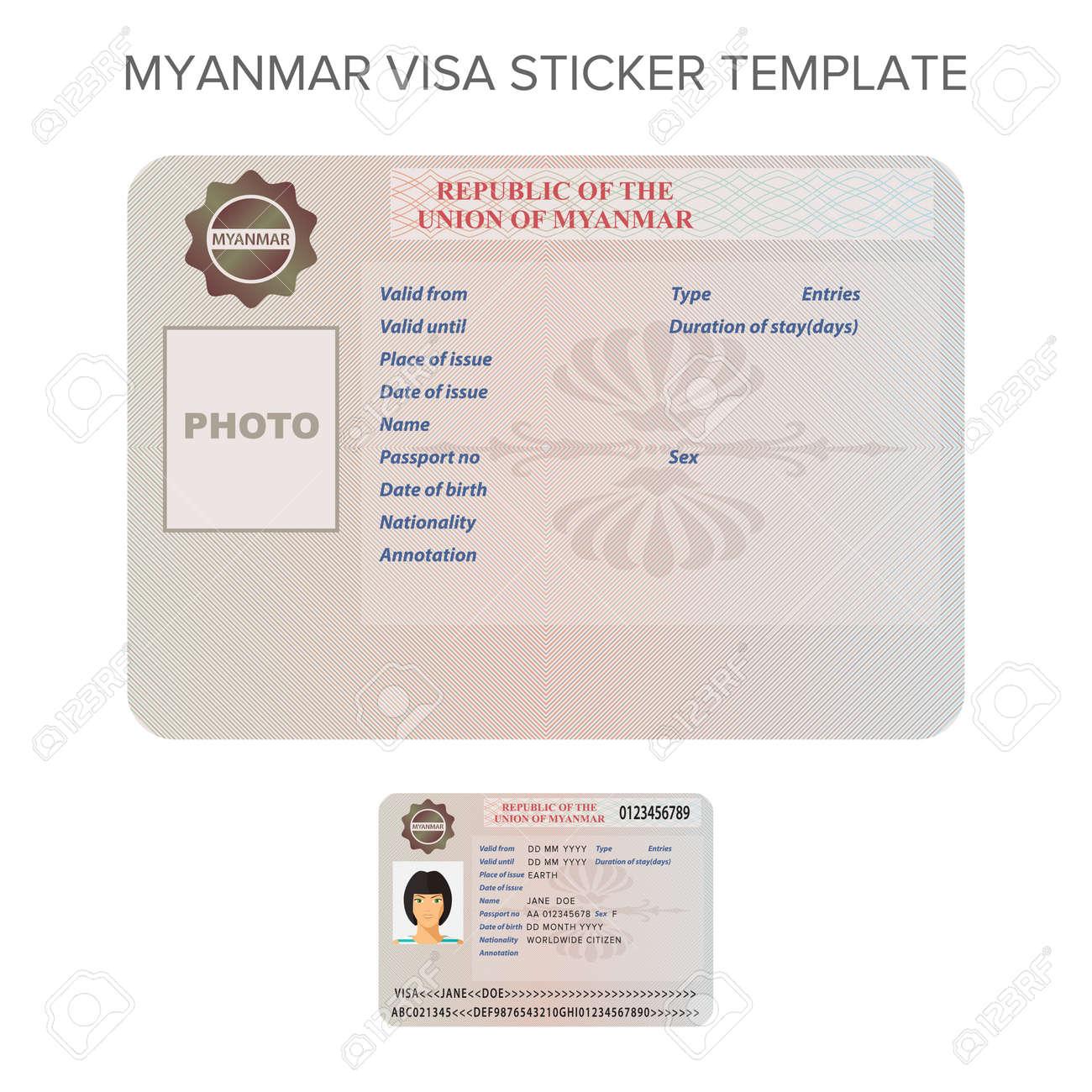 Vector Myanmar International Passport Visa Sticker Template In ...