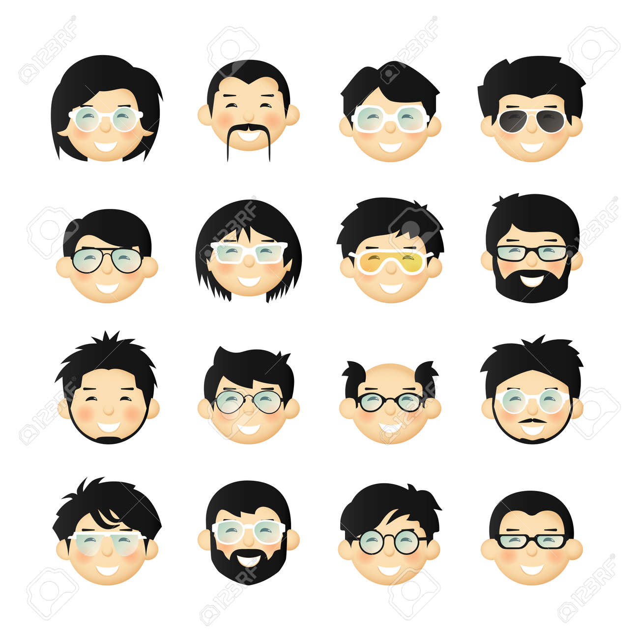 asian men head avatar iconset with beards mustaches glasses