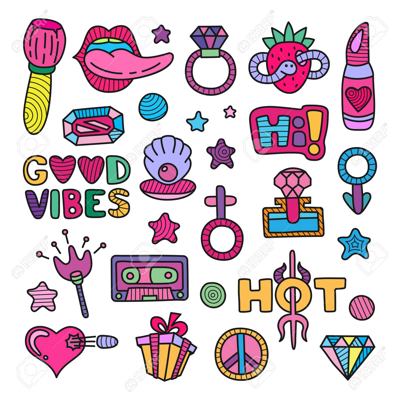 doodle girly clipart lineart elements set royalty free cliparts rh 123rf com girly clip art free girls clipart