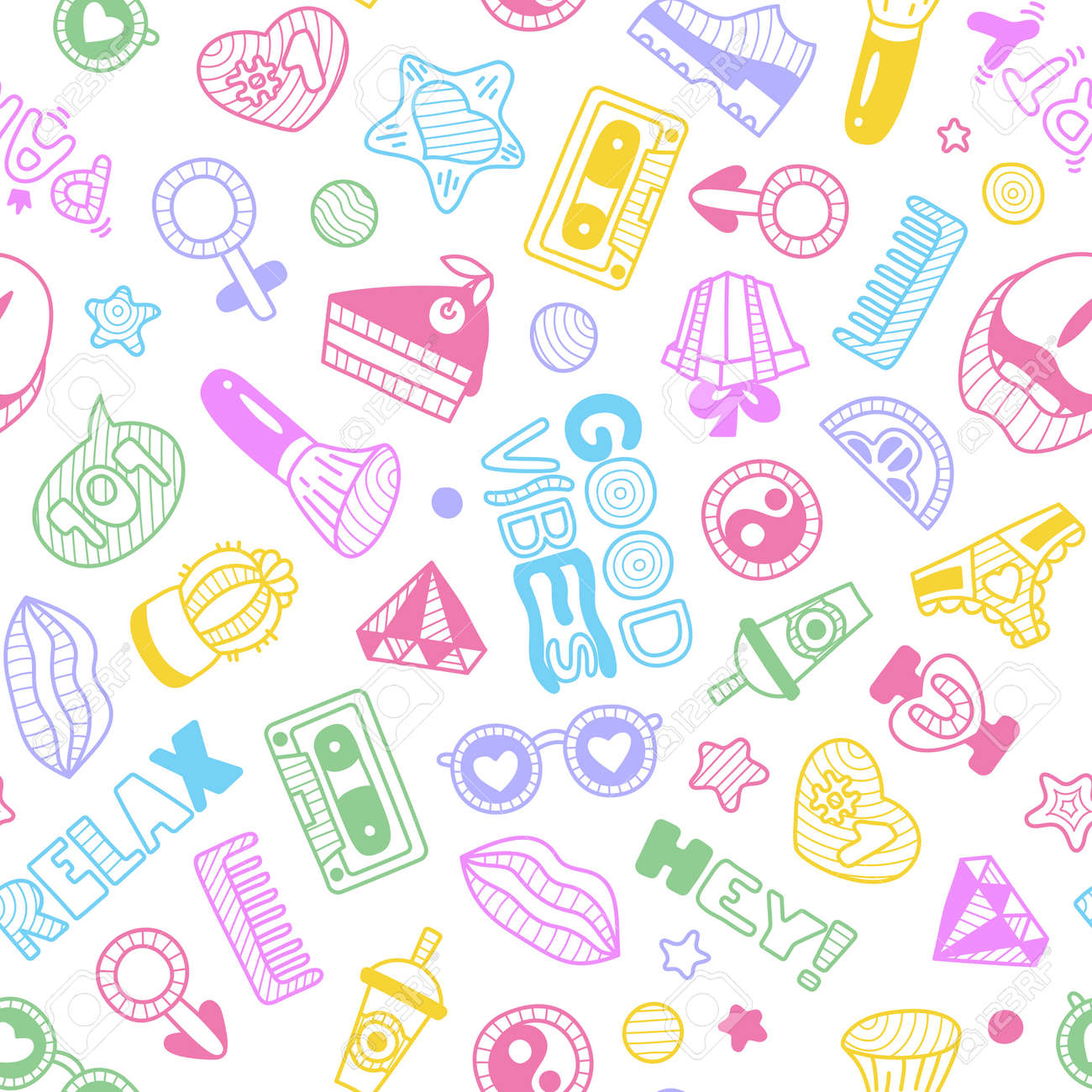 doodle girly pattern or texture stock vector 85650779