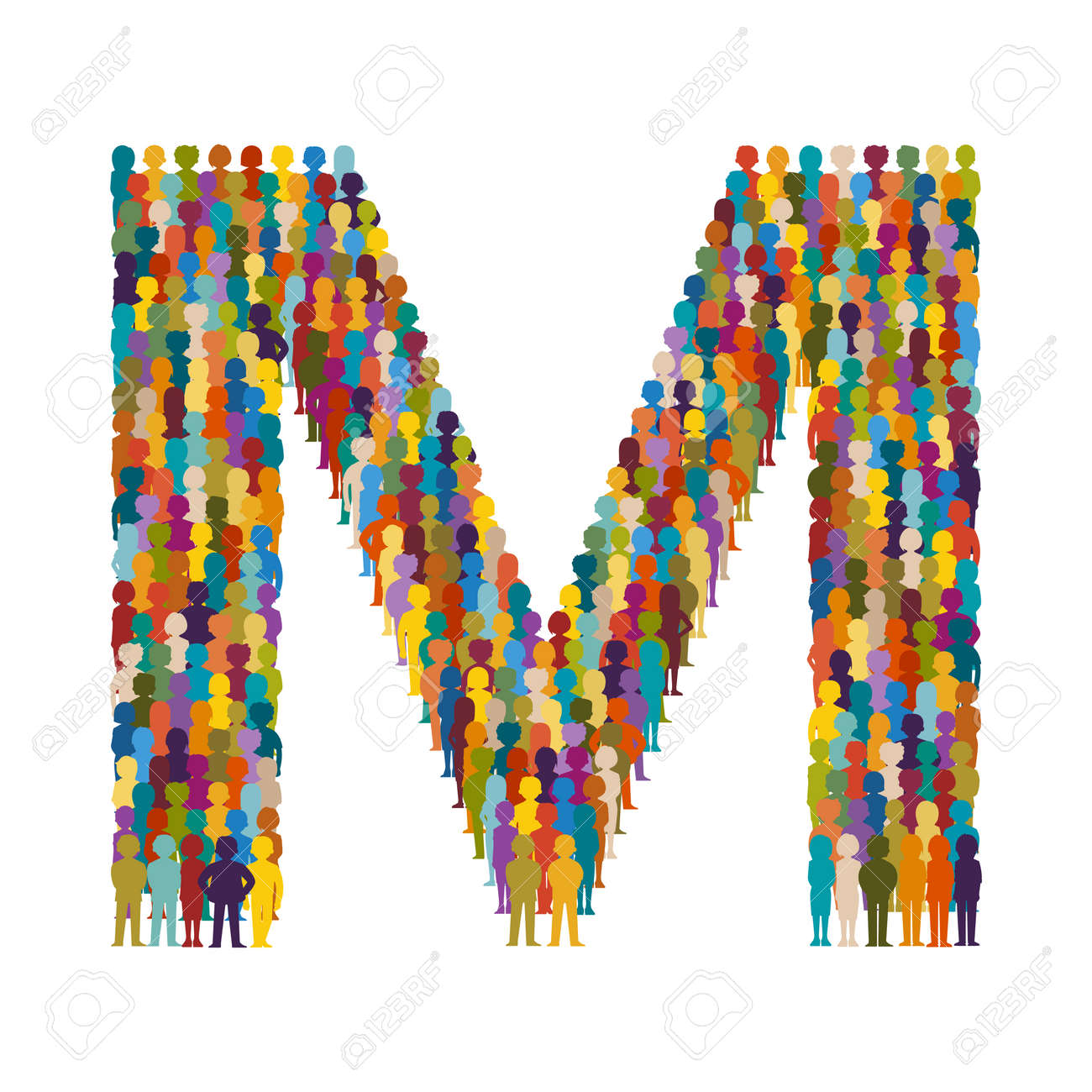 Vector Crowd Of People In Form Capital Letter M Flat Style
