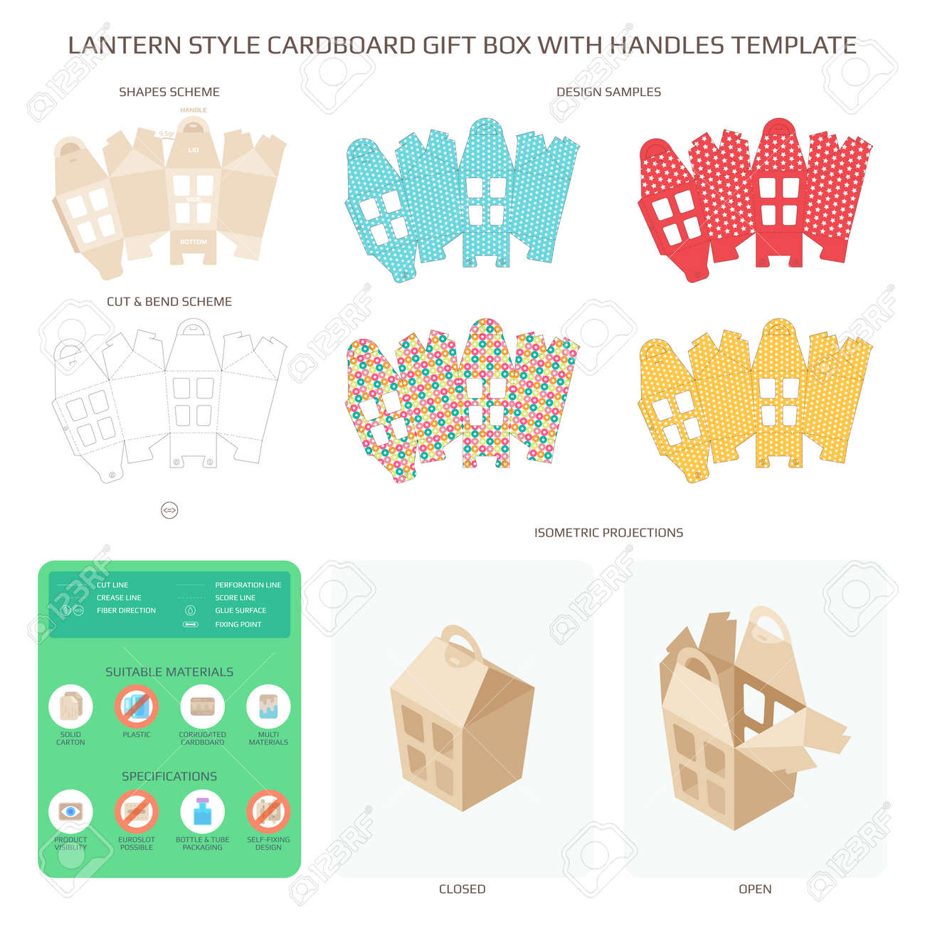 Vector Lantern Style Cardboard Gift Box With Handles Templates ... for cardboard lantern template  45ifm