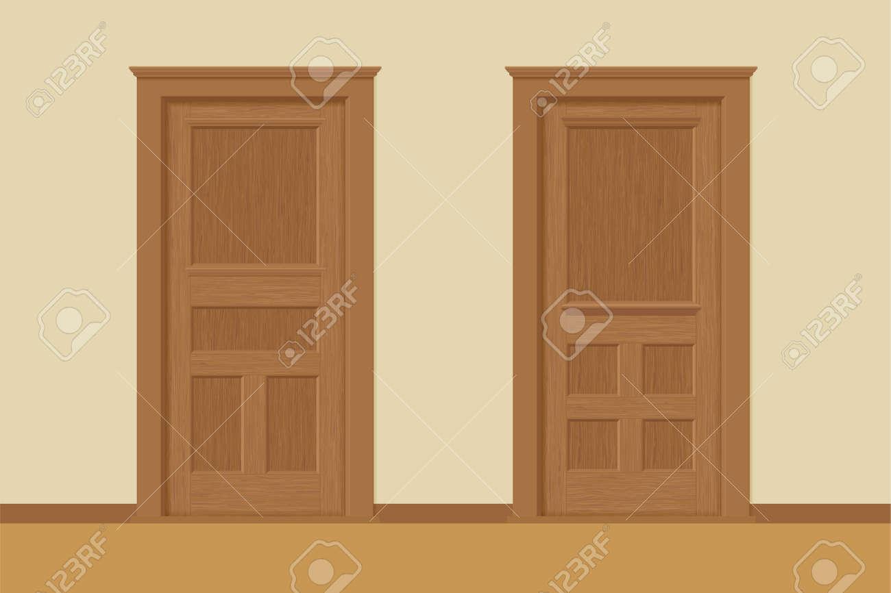 interior door texture. Vector - Textured Wooden Interior Doors With Door Frames In Flat Style Texture O