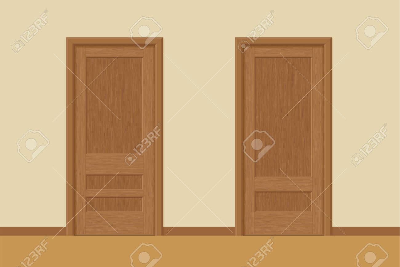 Vector Textured Wooden Interior Doors With Door Frames In Flat