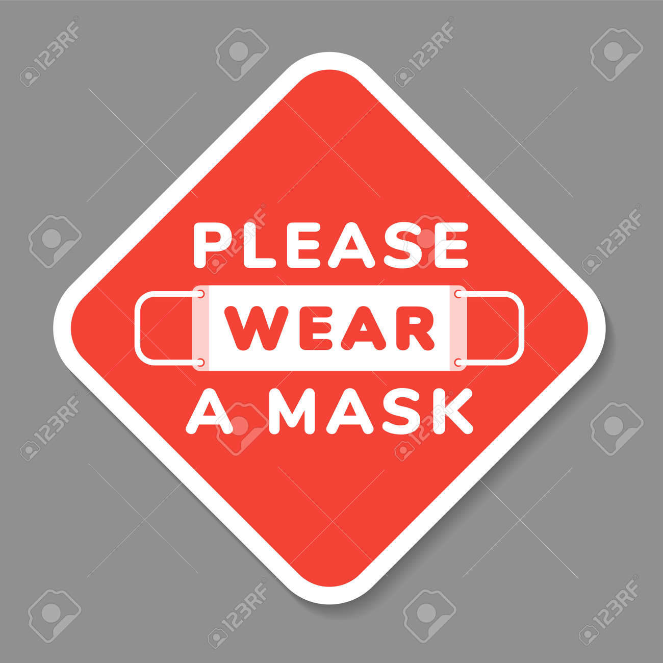 Vector attention sign, please wear face mask, in flat style - 111870372