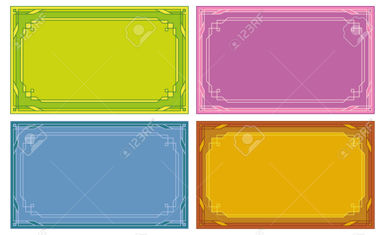 Set Of Labels, Tags, Business Cards With Abstract Border Pattern ...