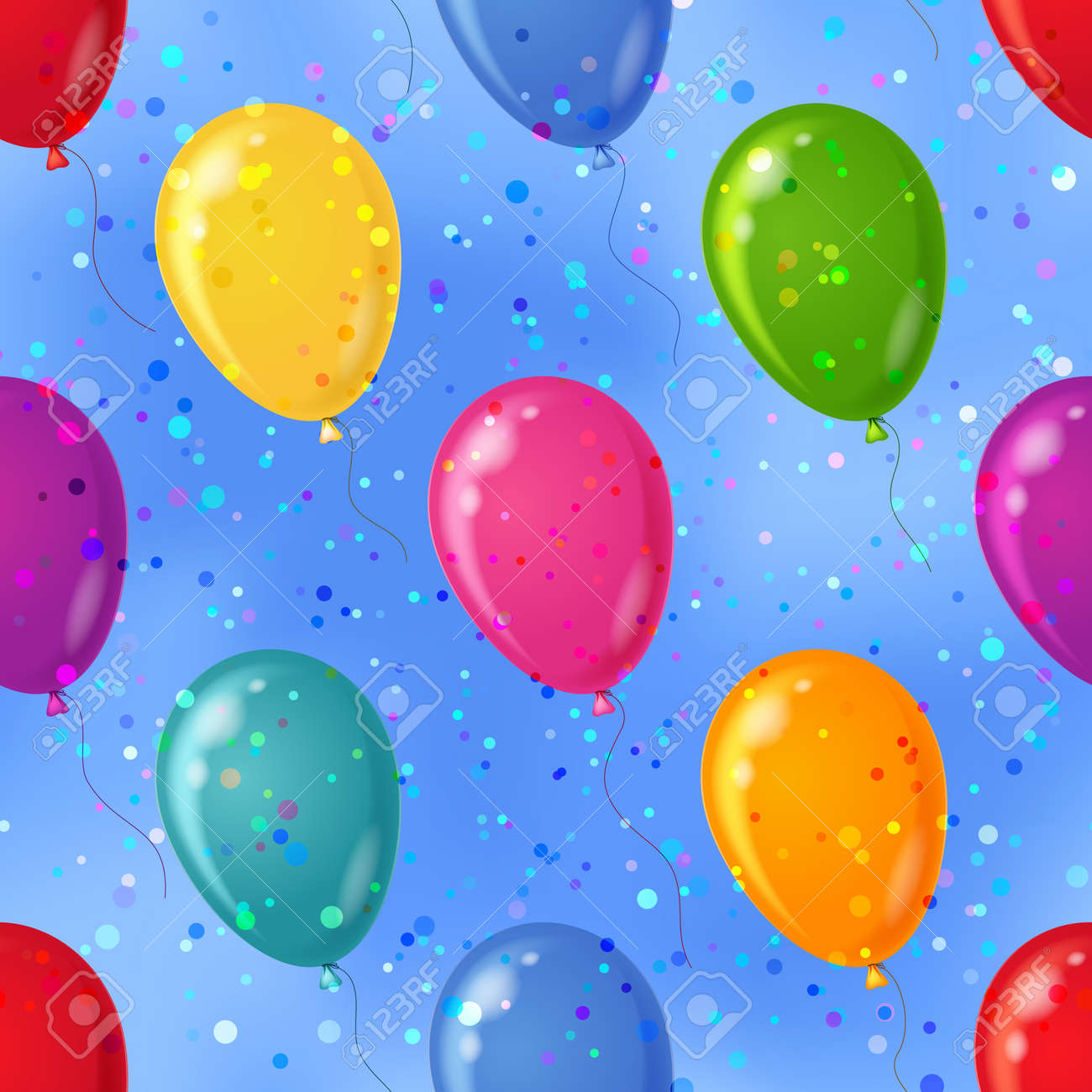 Balloons flying in blue sky, seamless colorful pattern background, Stock Vector - 12480475