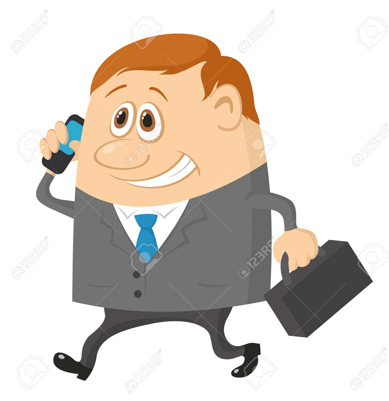 Businessman with a suitcase, happy smiling and running funny cartoon character Stock Vector - 12480411