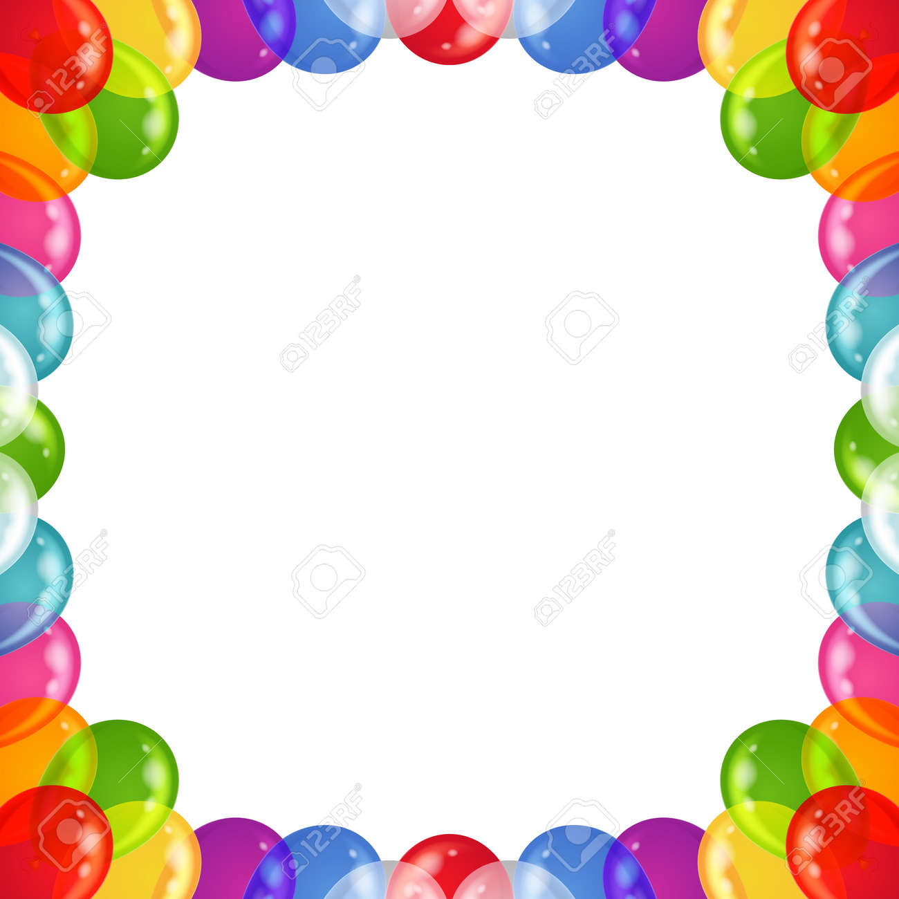 Balloons Frame Of Various Colors, Beautiful Background, Isolated ...