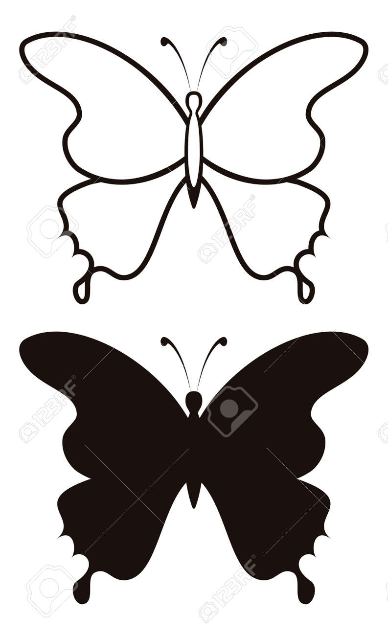 Butterfly black silhouettes with opened wings Stock Vector - 13965459