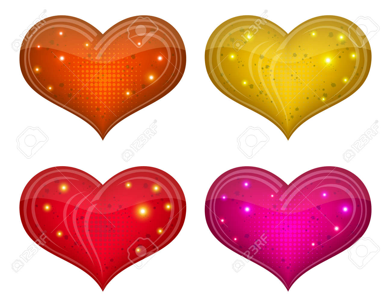 Valentine hearts, holiday set of beautiful love symbol icons Stock Vector - 14522520