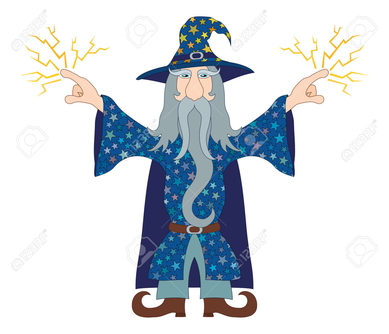 Wizard In Blue Starred Costume Standing With Hands Up And Launches ...