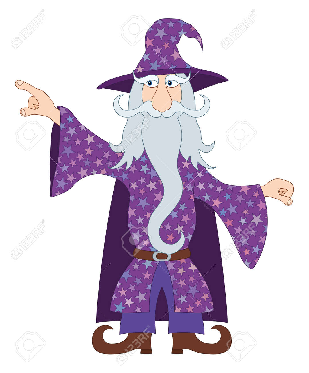 Wizard, Cartoon Character, In Violet Starred Costume Standing ...