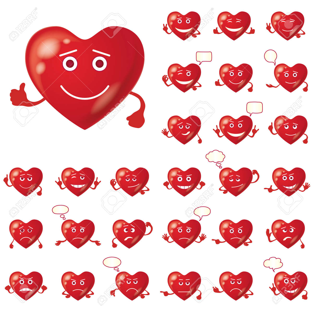 set of valentine hearts smileys love signs symbolizing various emotions contains transparencies stock - Valentine Signs