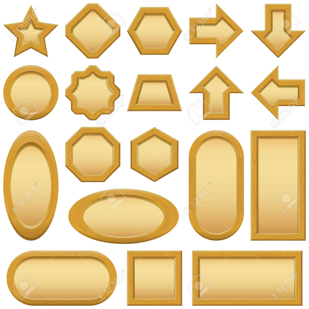Wood frames set free vector - Set Of Wooden Frames Of Different Shapes With Paper Inside Stock Vector 20551186
