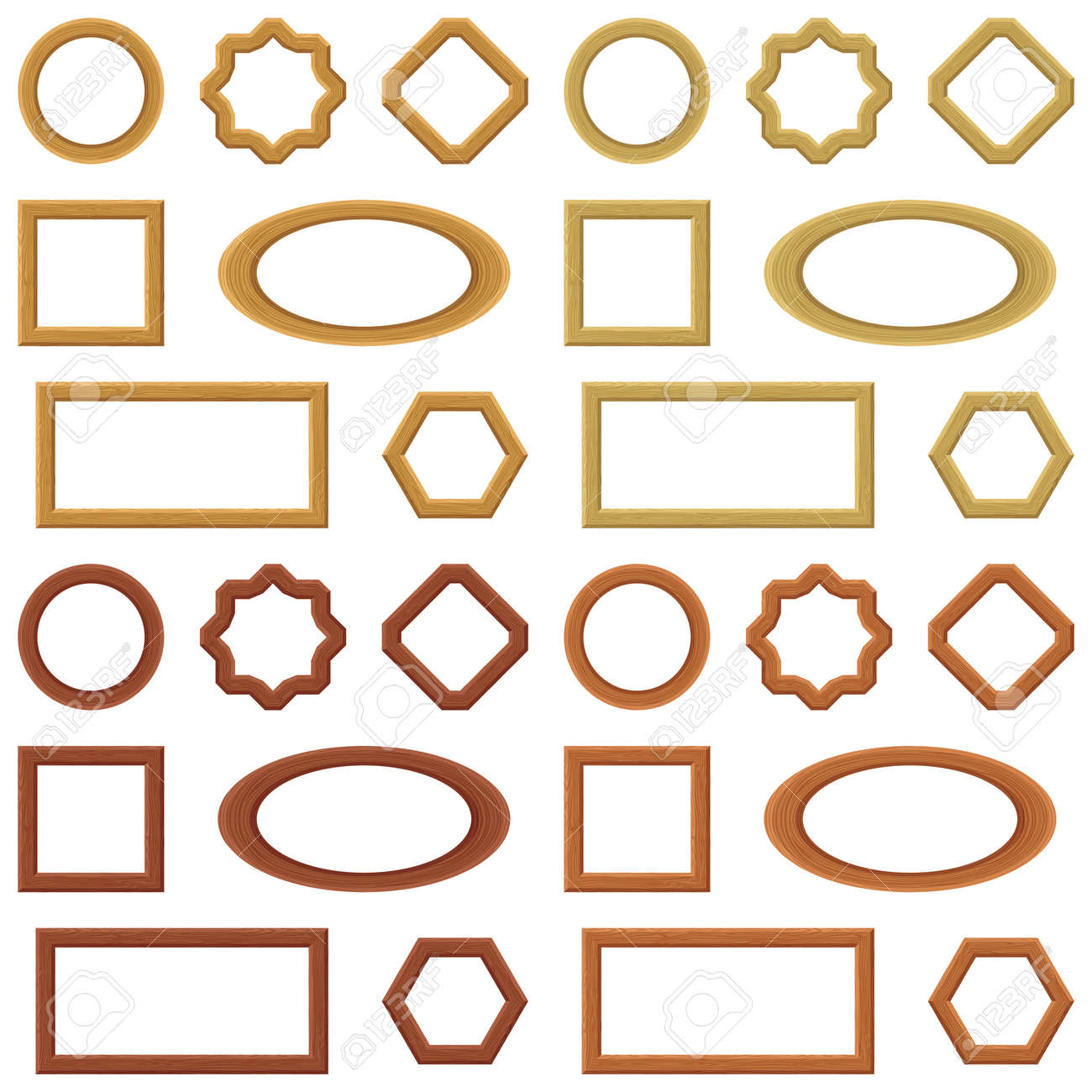 Wood frames set free vector - Set Of Empty Wooden Frames Different Shapes Vector Stock Vector 21537282