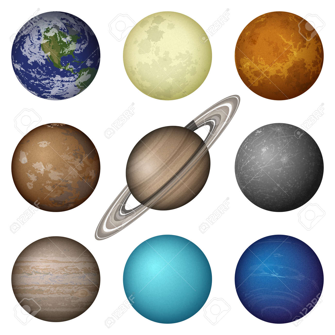 Space set of isolated planets of Solar System - Mercury, Venus,