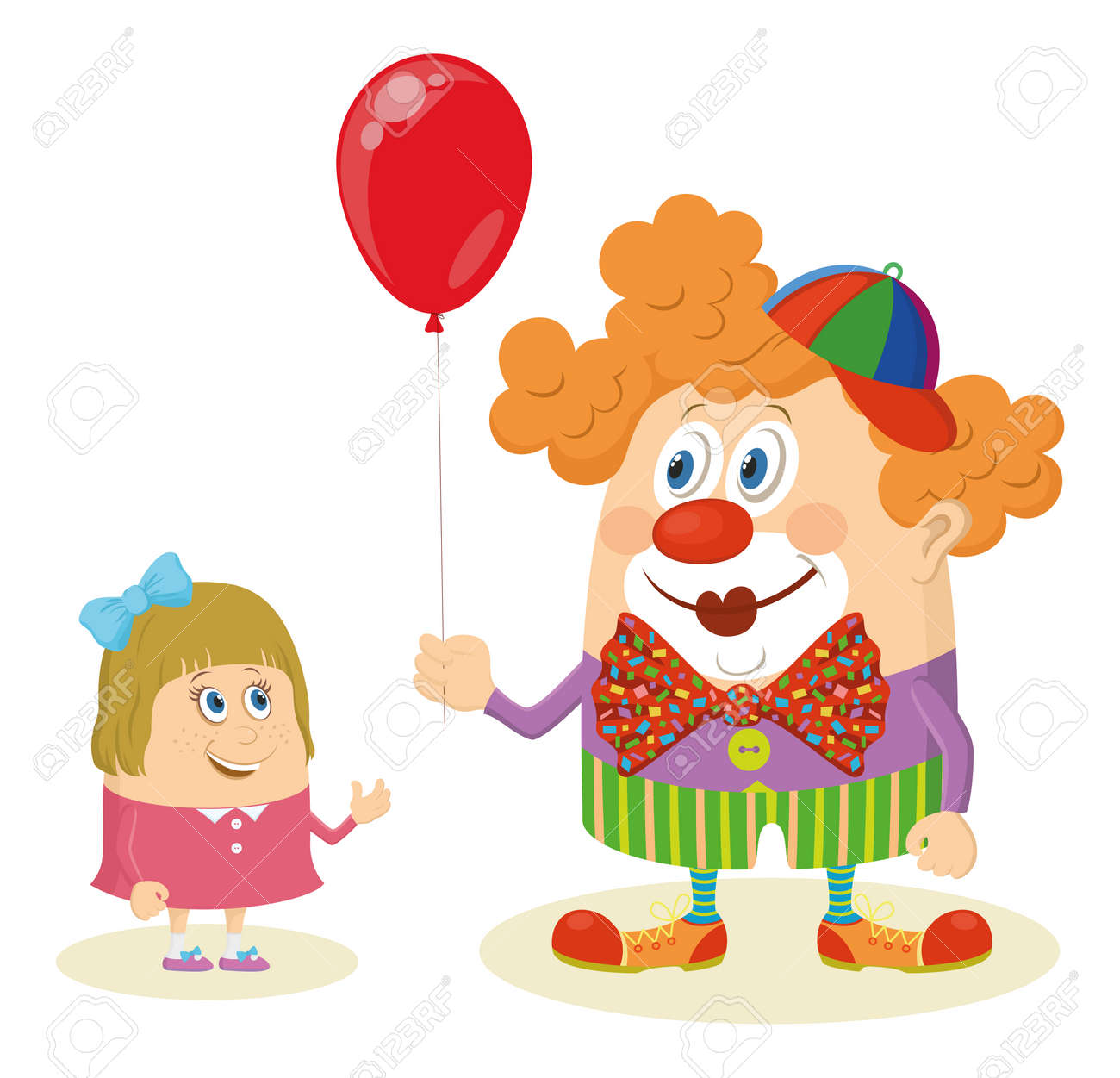 Cheerful kind circus clown in colorful clothes gives a little girl a balloon Stock Vector - 28504137